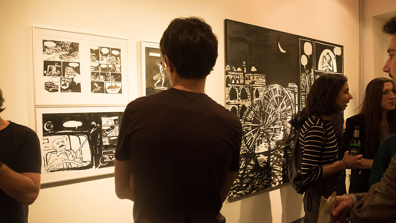 """Exhibition opening """"Freedom Writer"""" by Hamid Sulaiman © Photo: ECCHR"""