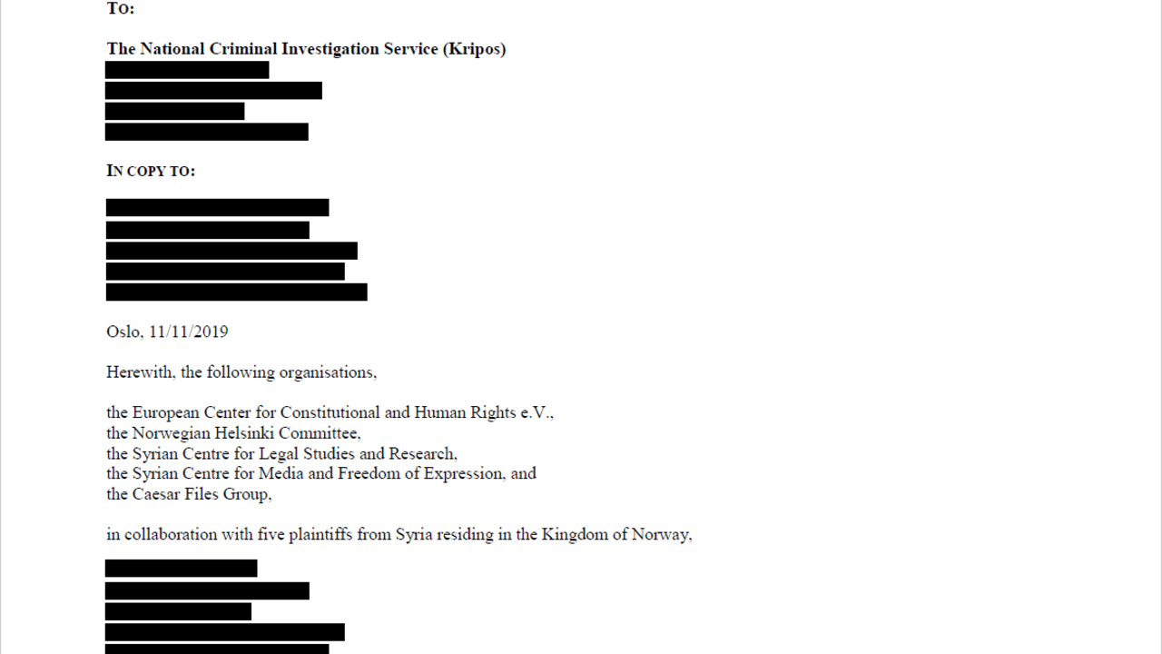 Page 1 of the criminal complaint that Syrian torture survivors filed in Norway© ECCHR