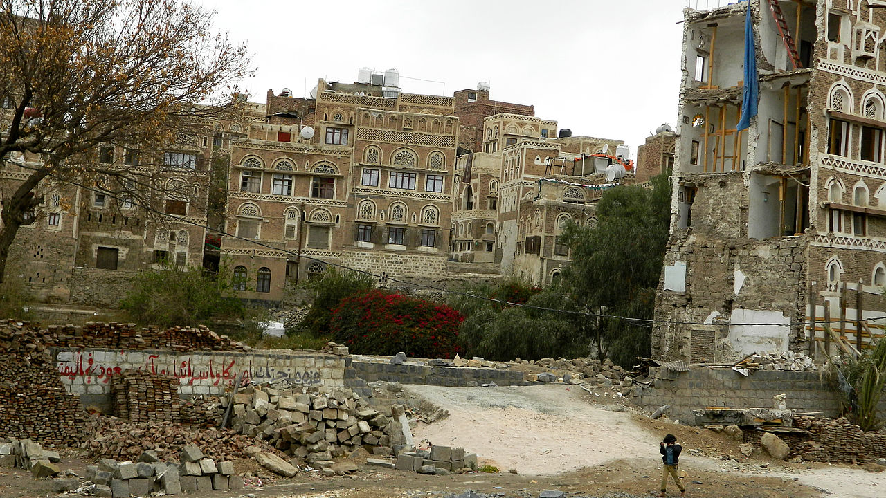 Residential area in the Old City of Sana'a (Yemen) after an airstrike allegedly conducted by the Saudi/VAE led coalition © Mwatana